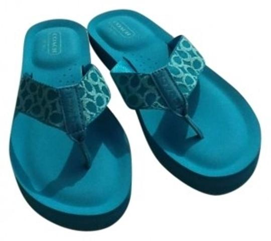 Preload https://item2.tradesy.com/images/coach-turquoise-sandals-size-us-7-176276-0-0.jpg?width=440&height=440