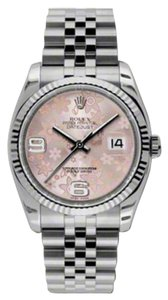 Rolex Rolex New Style Pre Owned Datejust Steel and White Gold Pink Floral Dial 36mm