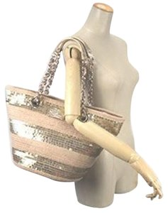 Kate Spade Straw Sequin Tote in Gold