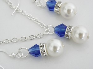 White Blue Bridesmaid Gift Bridesmaid Swarovski Ivory Pearl and Dark Sapphire Crystal Bridesmaid Necklace Earring Jewelry Set