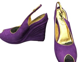 Saint Laurent Purple Wedges