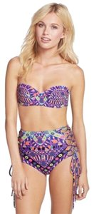 Mara Hoffman Mara Hoffman Purple Button Vintage Inspired Lace Up Bandeau Bikini