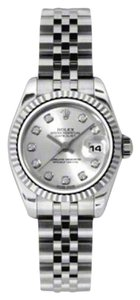 Rolex Rolex New Style Pre Owned Datejust Steel and White Gold Custom Silver Diamond Dial 26mm.