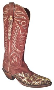 Lucchese Cowboy Leather Lizard Brown Boots