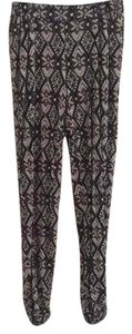 Anthropologie Print Boho Casual Elastic Relaxed Pants Black