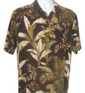 Tommy Bahama Hawaiian Silk Button Down Shirt Brown in color with Gold/Greenish