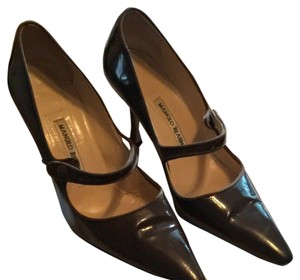 Manolo Blahnik Chocolate Brown Patent Leather Pumps