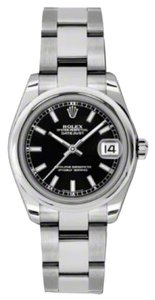 Rolex Rolex New Style Pre Owned Datejust Steel Black Stick Dial 31mm