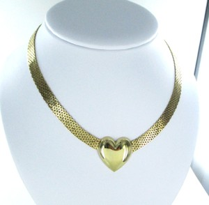 14K SOLID YELLOW GOLD MESH NECKLACE HEART LOVE VALENTINES 34.3 GRAMS FINE JEWEL