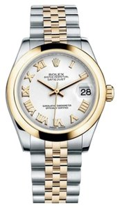 Rolex Rolex New Style Pre Owned Datejust Steel and Yellow Gold White Roman Dial 31mm.