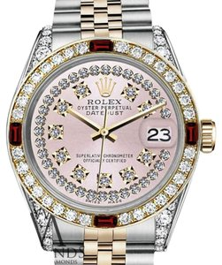 Rolex Ladies Rolex 26mm Datejust 2Tone Pink String Vintage Ruby Diamonds