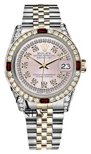Rolex Women's Rolex 31mm Datejust 2Tone Pink String Vintage Dial with Ruby & Diamonds Bezel