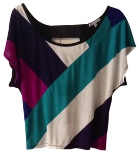 Charlotte Russe Top Black White Purple Blue Teal