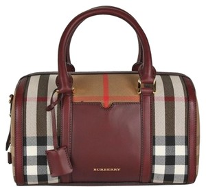 "Burberry House Bowling Prada Satchel in Check Print Canvas ""Alchester"" Satchel Crossbody Deep Claret"