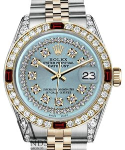 Rolex Women's Rolex 31mm Datejust 2Tone Ice Blue String Dial Ruby & Diamond