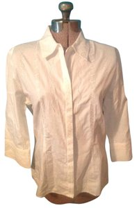 Talbots Embroidery Button Down Shirt White