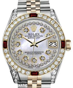 Rolex Rolex 36mm Datejust 2Tone White MOP String Dial with Ruby & Diamond Bezel