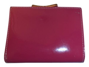 Ted Baker Ted Baker small dark pink/cranberry patent leather wallet w/rose gold hardware