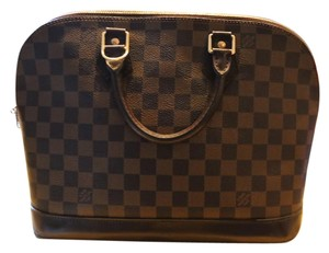 Louis Vuitton Alma Neverfull Satchel in Damier Ebene Brown