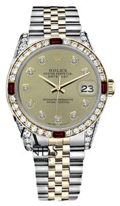 Rolex Women's Rolex 31mm Datejust 2Tone Champagne Color Dial with Ruby & Diamond Bezel