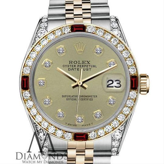 Rolex Women's Rolex 31mm Datejust 2Tone Champagne Color Dial with Ruby & Dia Image 1