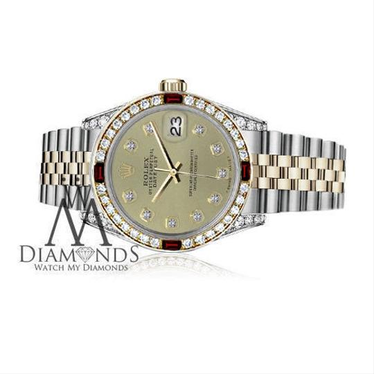 Rolex Women's Rolex 31mm Datejust 2Tone Champagne Color Dial with Ruby & Dia Image 2