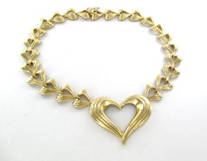 14K SOLID YELLOW GOLD NECKLACE HEART VALENTINES LOVE DESIGN 56.1 GRAMS