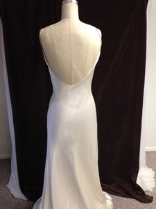 Augusta Jones Light Ivory White Charmuse Silk Italian Satin Lauren Low Back Liquid Slim Beaded Empire Sexy Wedding Dress Size 8 (M)
