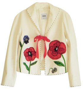 Moschino Cotton Italian Floral Blazer Multi Color Jacket