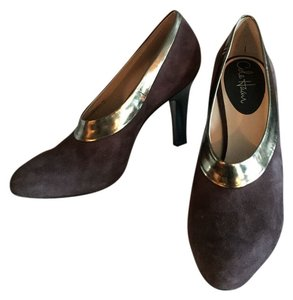 Cole Haan Leather Trim Brown suede with gold band Pumps