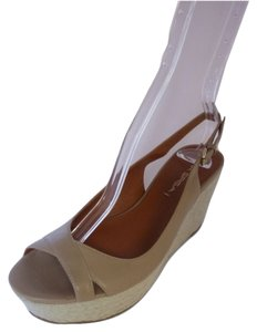 Via Spiga Wedge Leather Brown Sandals