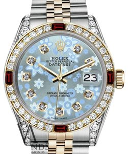 Rolex Ladies Rolex 26mm Datejust 2Tone Glossy Ice Blue Flower Dial Ruby & Diamond Bezel