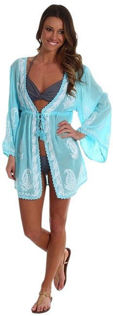 Item - Sky Blue Embroidered Beaded Open Placket Drawstring Cotton Voile Kaftan Cover-up/Sarong Size OS (one size)