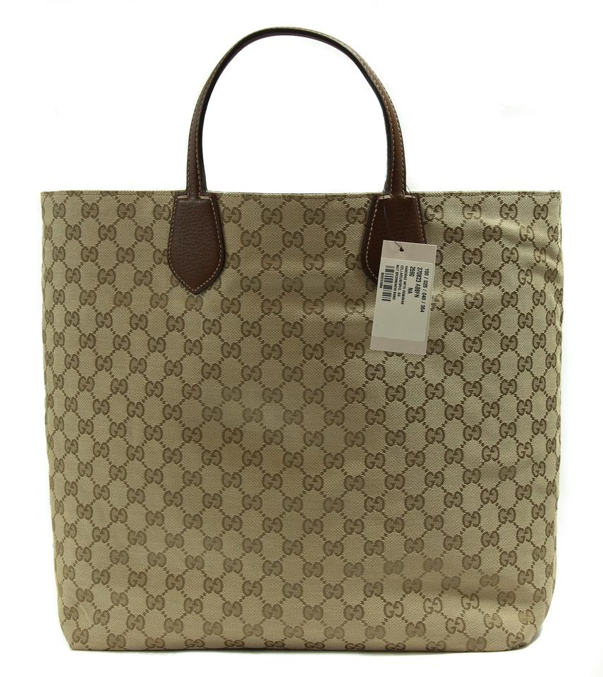 8a5cfeb66ab7 Gucci 370823 Ramble Reversible Leather/Original Nut Brown / New Sand Leather  / Gg Canvas Tote - Tradesy