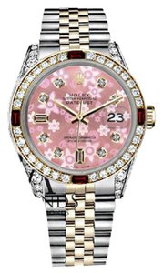 Rolex Ladies Rolex 26mm Datejust 2Tone Glossy Pink Flower Dial with Ruby & Diamond Bezel