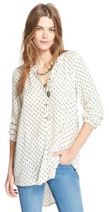 Free People Ivory Oversized Boyfriend Top Ivory Print