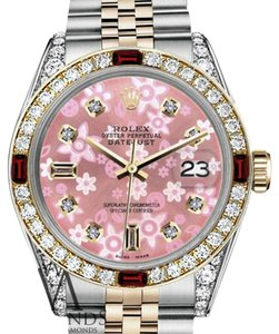 Rolex Women's Rolex 31mm Datejust 2Tone Glossy Pink Flower Dial with Ruby & Diamond Bezel