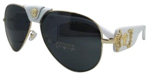 Versace New VERSACE Sunglasses VE 2150-Q 1341/87 Gold & White Aviator Frame w/ Grey lens