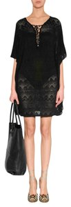 Melissa Odabash Black crochet knit kaftan with tie waist