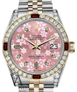 Rolex Rolex 36mm Datejust 2Tone Glossy Pink Flower Dial with Ruby & Diamond