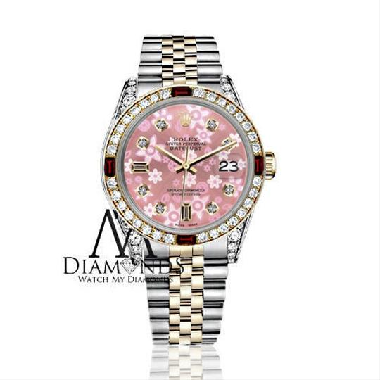 Rolex Rolex 36mm Datejust 2Tone Glossy Pink Flower Dial with Ruby & Diamond Image 1
