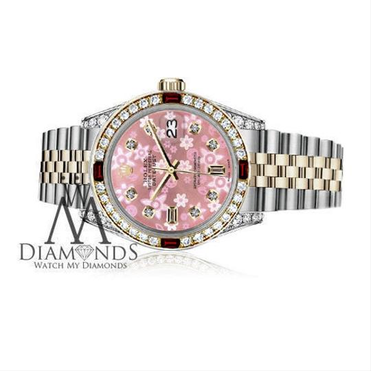 Rolex Rolex 36mm Datejust 2Tone Glossy Pink Flower Dial with Ruby & Diamond Image 2