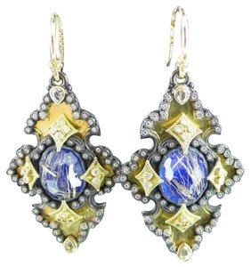 Emily Armenta Emily Armenta 18K Midnight Iris Scroll Earrings with Lapis and Rutilated Quartz Doublet, White Sapphires and Diamonds.