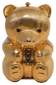Judith Leiber Swarovski Crystal Minaudiere Teddy Bear Evening gold Clutch