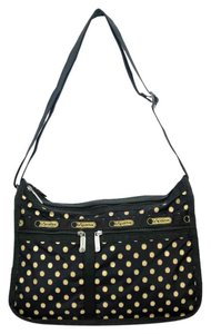 LeSportsac Lightweight Black Silver Hardware Gold Shoulder Bag