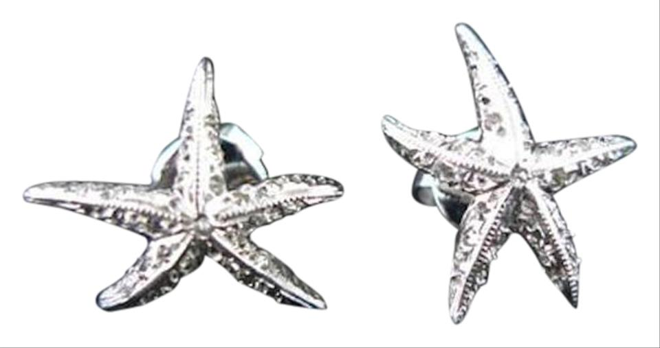 Umlaut 18k White Gold Diamond Starfish Earrings