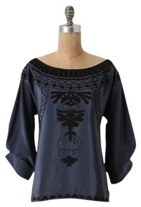 Anthropologie Boatneck Silk Top Blue