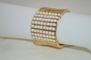 Bloomingdales GOLD & WHITE Adjustable Bracelet Elastic Wrap BOHO Beads Hammered Bangle