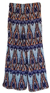 Romeo & Juliet Couture Boho Aztec Palazzo Hippy Wide Leg Pants blue, turquoise, orange