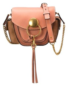 Chloé Leather Suede Goldtone Hardware Pink Tan Cross Body Bag